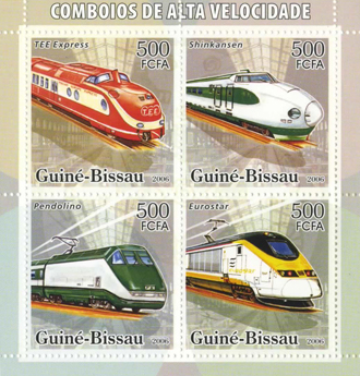 世界の高速電車を模したギニアビサウの切手の写真 世界の高速電車を模したギニアビサウの切手  ギニ